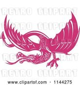 Vector Clip Art of Retro Pink Dragon by Patrimonio