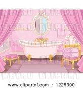 Vector Clip Art of Retro Pink Fairy Tale Bathroom Interior with a Clawfoot Tub by Pushkin