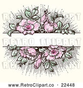 Vector Clip Art of Retro Pink Flowers with Green Leaves - Blank Banner Space by BestVector