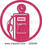 Vector Clip Art of Retro Pink Gas Pump Logo by Patrimonio