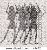 Vector Clip Art of Retro Pink Halftone Scene of Abstract Women Dancing by Kaycee
