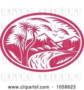 Vector Clip Art of Retro Pink Mountainous River Logo by Patrimonio