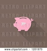 Vector Clip Art of Retro Pink Piggy Bank with a Shadow on Brown by Elena