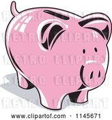 Vector Clip Art of Retro Pink Piggy Coin Bank by Patrimonio