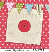 Vector Clip Art of Retro Pink Polka Dot Background with Party Flags and a Vinyl Record Sleeve by Elaineitalia