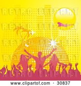 Vector Clip Art of Retro Pink Silhouetted Crowd Partying in Front of a Yellow Disco Ball Planet with Palm Trees, Butterflies, a Plane, and Equalizer Bars Under a Yellow Sun by Elaineitalia