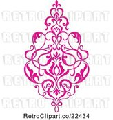 Vector Clip Art of Retro Pink Victorian Floral Damask Design Element 1 by BestVector