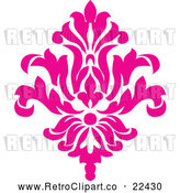 Vector Clip Art of Retro Pink Victorian Floral Damask Design Element 2 by BestVector