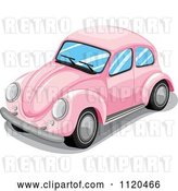 Vector Clip Art of Retro Pink VW Slug Bug Car by Graphics RF