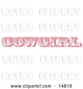 Vector Clip Art of Retro Pink Western Cowgirl Bathroom Sign by Andy Nortnik