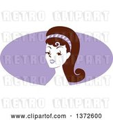 Vector Clip Art of Retro Pinup Lady from the Shoulders up over a Purple Oval by BNP Design Studio