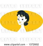 Vector Clip Art of Retro Pinup Lady from the Shoulders up over a Yellow Oval by BNP Design Studio