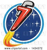 Vector Clip Art of Retro Pipe Monkey Wrench Rocket in Flight Around a Circle of Stars by Patrimonio