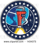 Vector Clip Art of Retro Pipe Monkey Wrench Rocket in Flight near Earth, in a Circle of Stars by Patrimonio