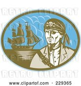 Vector Clip Art of Retro Pirate and Ship Logo by Patrimonio