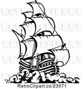 Vector Clip Art of Retro Pirate Ship 3 by Prawny Vintage