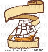 Vector Clip Art of Retro Pirate Ship in a Long Ribbon Banner by Patrimonio