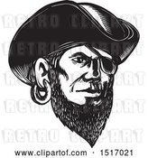 Vector Clip Art of Retro Pirate Wearing an Eye Patch and Tricorne Hat, in Woodcut by Patrimonio