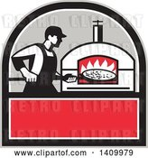 Vector Clip Art of Retro Pizza Chef Holding a Peel with a Pie in Front of a Wood Fired Oven in a Black Gray White and Red Crest by Patrimonio