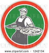 Vector Clip Art of Retro Pizzeria Guy with a Pie on a Peel in a Circle by Patrimonio