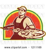Vector Clip Art of Retro Pizzeria Worker with a Pie on a Peel by Patrimonio