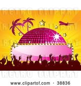 Vector Clip Art of Retro Plane Flying over a Pink Disco Ball with a Blank Sign, Stars, Palm Trees and a Crowd, on a Bursting Orange Background by Elaineitalia