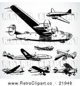 Vector Clip Art of Retro Planes by BestVector