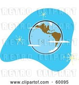 Vector Clip Art of Retro Planet Earth with Brown Continents on Blue with Stars by Xunantunich