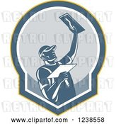Vector Clip Art of Retro Plasterer Guy in a Shield by Patrimonio