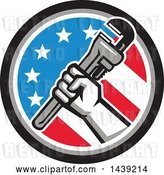 Vector Clip Art of Retro Plumber Hand Holding a Pipe Monkey Wrench in an American Circle by Patrimonio