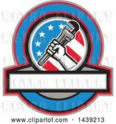 Vector Clip Art of Retro Plumber Hand Holding a Pipe Monkey Wrench in an American Circle over a Banner with Text Space by Patrimonio