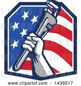 Vector Clip Art of Retro Plumber Hand Holding a Pipe Monkey Wrench in an American Crest by Patrimonio