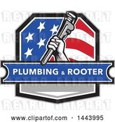 Vector Clip Art of Retro Plumber Hand Holding a Pipe Monkey Wrench in an American Crest, over a Plumbing and Rooter Banner by Patrimonio
