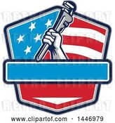Vector Clip Art of Retro Plumber Hand Holding a Pipe Monkey Wrench in an American Flag Shield by Patrimonio