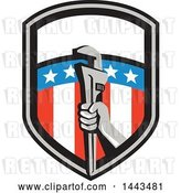 Vector Clip Art of Retro Plumber Hand Holding a Pipe Monkey Wrench in an American Shield by Patrimonio