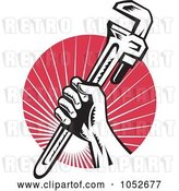 Vector Clip Art of Retro Plumber Hand Holding a Wrench over Red Rays by Patrimonio