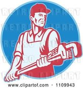 Vector Clip Art of Retro Plumber Holding a Large Adjustable Monkey Wrench on a Blue Circle by Patrimonio