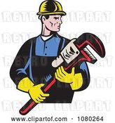 Vector Clip Art of Retro Plumber Holding a Large Monkey Wrench by Patrimonio