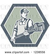 Vector Clip Art of Retro Plumber Holding a Monkey Wrench in a Hexagon by Patrimonio