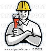 Vector Clip Art of Retro Plumber or Pipefitter Holding a Monkey Wrench by Patrimonio
