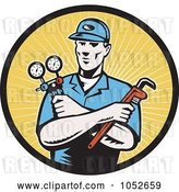 Vector Clip Art of Retro Plumber over Yellow Rays Logo by Patrimonio