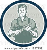 Vector Clip Art of Retro Plumber Worker Guy Holding a Monkey Wrench in a Circle by Patrimonio