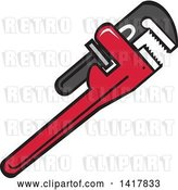 Vector Clip Art of Retro Plumbing Pipe Monkey Wrench by Patrimonio