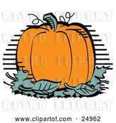 Vector Clip Art of Retro Plump and Round Orange Halloween or Thanksgiving Pumpkin on Top of a Pile of Green Leaves by Andy Nortnik