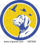 Vector Clip Art of Retro Pointer Hunting Dog Looking up at Flying Geese in a Blue White and Yellow Circle by Patrimonio