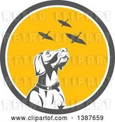 Vector Clip Art of Retro Pointer Hunting Dog Looking up at Flying Geese in a Gray White and Yellow Circle by Patrimonio