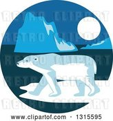 August 14th, 2018: Vector Clip Art of Retro Polar Bear and Ice Burgs at Night in a Circle by Patrimonio