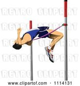 Vector Clip Art of Retro Pole Vaulter by
