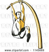 Vector Clip Art of Retro Pole Vaulter by Patrimonio