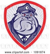 Vector Clip Art of Retro Police Bulldog Officer Badge by Patrimonio